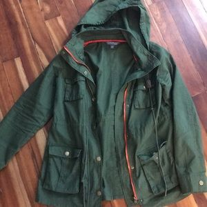 Army green hooded Anorak jacket